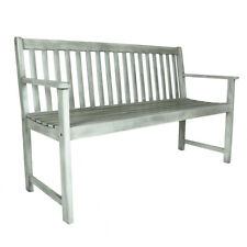 Charles Bentley FSC Acacia White Washed Wooden Garden Patio Outdoor Bench