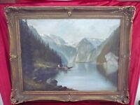 Bello, Vecchio Dipinto_Bergsee Con Barca Pesca _ Firmato