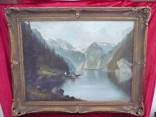 sublime,ancien Tableau_lac de montagne avec Bateau de pêche_Signé