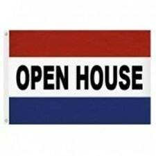 3x5 ft OPEN HOUSE NYLON FLAG RED WHITE BLUE STRIPE BLACK LETTERS Made in USA