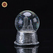 WR Craft Art Ideas Crystal Ball Silvery Architecture Music Box Snow Globe 7*7*9