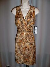 AK ANNE KLEIN TAUPE PRINT LINED V-NECK RUCHING DETAIL BEAUTIFUL DRESS 6 NWT $139