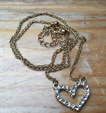 Vintage 90's Heart Pendant Necklace/Rhinestone Set/Retro/Kitsch/Gold Tone Chain