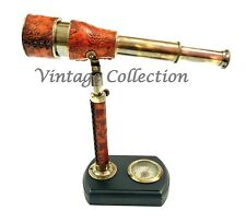 Antique Maritime Brass Leather Engraved Telescope on Wooden Base with Compass