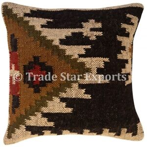 Indian Vintage kilim Jute Pillow Cases 18x18 Hand Woven Rug Square Cushion Cover