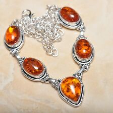 "Handmade Baltic Faux Amber Gemstone 925 Sterling Silver Necklace 20"" #N00578"