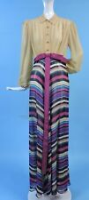 VINTAGE 1930'S SILK CHIFFON STRIPED DRESS W LONG PUFF SLEEVES