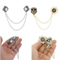 Fashion Crystal Brooch Pin Lapel with Chain Tassel Blouse Shirt Collar Neck Tip