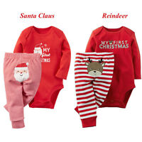 My First Christmas Newborn Baby Boy Girls Romper Top+Pants Bodysuit Outfits Xmas