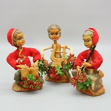 Set of 3 Vintage Christmas Pixie Elf Plastic Playing Instruments Holiday Music