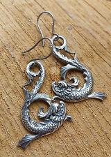xxl Ohrringe TITAN antiallergisch titanium fischer Dragon Fisch Drachen vintage