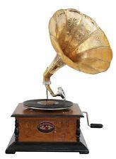 Nostalgie Grammophon mit Trichter Gramophone Schellackplatte im Antik-Stil (d)