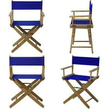 18in Wooden Directors Chair Portable Folding Wood Royal Blue Canvas