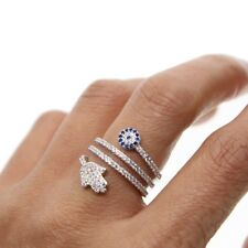 Genuine Silver plated Blue Cubic Zircon Crystal  Hamsa And Evil Eye Ring- SIZE 7