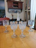 Vintage Libbey Hobstar Star of David Wine/Water Goblets Set of 4 EUC