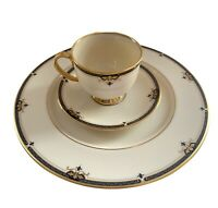 12 PC Set of Lenox Potomac Presidential Black Gold Dinner Plate Cup Saucer China