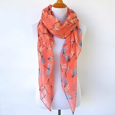 Orange Women Scarf Womens Long Scarves Viscose Dragonfly Print Shawl