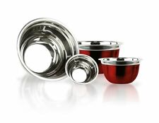 4 Stainless Steel RED Finish Euro Style Mixing Bowl Set 5,3,1.5, 3/4 Quart Qt