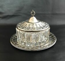 Antique 800 Silver Lid Covered Butter Or Candy Cut Glass Dish
