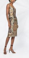 ETRO beige floral printed stretch jersey midi sheath slip dress, IT44 AU/UK12