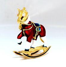 .04ct Natural Diamond Enamel Rocking Horse Pin
