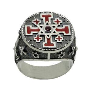 Jerusalem Cross and Star of David Sterling Silver 925 Knights Templar Men's Ring