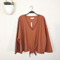 MADEWELL Women's 3X Terricotta Orange Long-Sleeve Tie-Front V-Neck Top K4775