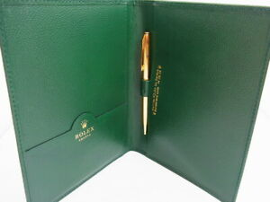 ROLEX Green Leather Notebook Pad Pen Holder & Ballpoint Pen Parker Lot 2 EX