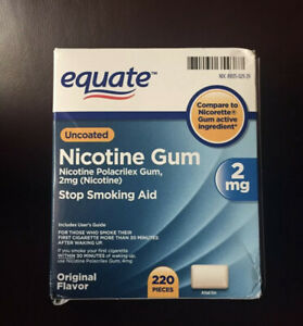 220 Pieces Equate Uncoated Nicotine Gum 2mg, Exp 06/2023
