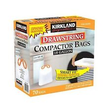 Kirkland Compactor Trash Bag 18 Gallon Smart Fit Gripping Drawstring Garbage Bin