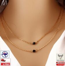 Beautiful Multi layer Black Crystal Pendant Chain Necklace Choker [A6T~B32]