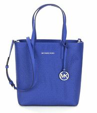 Michael Kors Hayley Medium North South NS Perforated Leather Electric Blue Tote