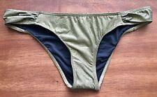 NEW Anthropologie Bec & Bridge Glitter Gold Ruched Cheeky Bikini Bottoms Size 4