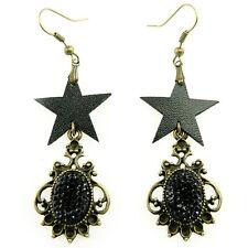 Boucles d'oreilles gothique rock étoiles noires imitation cuir strass bronze
