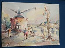 Trier - Moselkran mit Römerbrücke - Aquarell von Ewald Schmitz, Trier