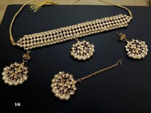 Kundan Gold tone Bollywood Choker Style Necklace Earring Jewelry Set