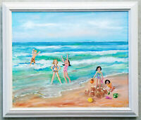 "Vintage Original Oil Painting ""Children Playing at Beach"" Ocean Sand Castle Kids"