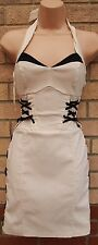 JANE NORMAN CREAM BLACK LACE UP STRETCH BODYCON BANDAGE TUBE PARTY DRESS S M
