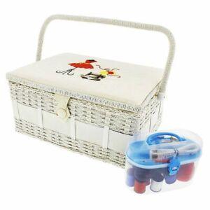 Vintage Sewing Basket Organizer Box Kit with Hand Sewing Supplies, Rectangular