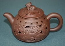 FINE CHINESE ZISHA PURPLE SAND TEAPOT FINELY CARVED NATURAL MATERIAL HW8391