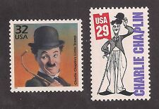 CHARLIE CHAPLIN - SILENT FILM ACTOR - 2 U.S. POSTAGE STAMPS - MINT CONDITION