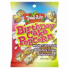 USA CANDY 3OZ PACK OF TOAD ALLY BIRTHDAY CAKE POPCORN 3OZ  BBE DATE 09/11/2019