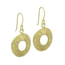 YELLOW GOLD PLATED HANDMADE DESIGNER UNIQUE PLAIN EARRING WOMEN JEWELRY