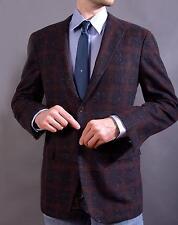 $6595 Kiton Navy Blue Large Check 100% Pure Cashmere Sport Coat Jacket 42L 52L