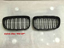 GLOSSY BLACK KIDNEY DOUBLE RIMS GRILLE BMW F20 1 SERIES 2011-2014