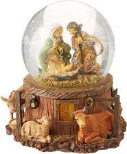Roman Fontanini Christmas Glitter Snow Globe Musical Lighted Nativity Manger