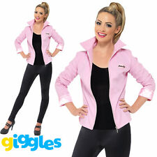 Deluxe Pink Ladies Jacket Costume Grease Womens Lady 50s Fancy Dress Outfit