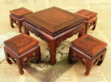 A SET PRETTY CHINESE WOOD MINIATURE FURNITURE 4 CHAIRS AND TABLE