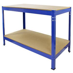 Tavolo da Lavoro In Acciaio Senza Bulloni Q-Rax Blu Largo 120cm per Officina