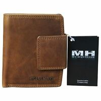 Hill Burry Geldbörse Herren Portemonnaie Bifold Premium Leder Used Look Braun